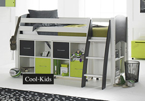 Cabin bed white and lime